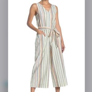 Beachlunchlounge Striped Linen Blend Jumpsuit S